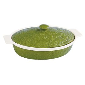 Picture of 3.13 Quart Embossed Covered Casserole Dish - Green and White