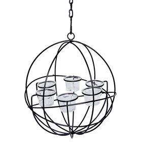 Picture of 13-in. Metal Hanging Globe Votive Holder - Black