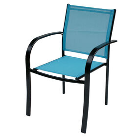 Picture of Steel Sling Low Back Chair, Aqua and Black