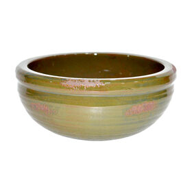 Picture of Green Ceramic Ridged Bowl - 11.4 in.