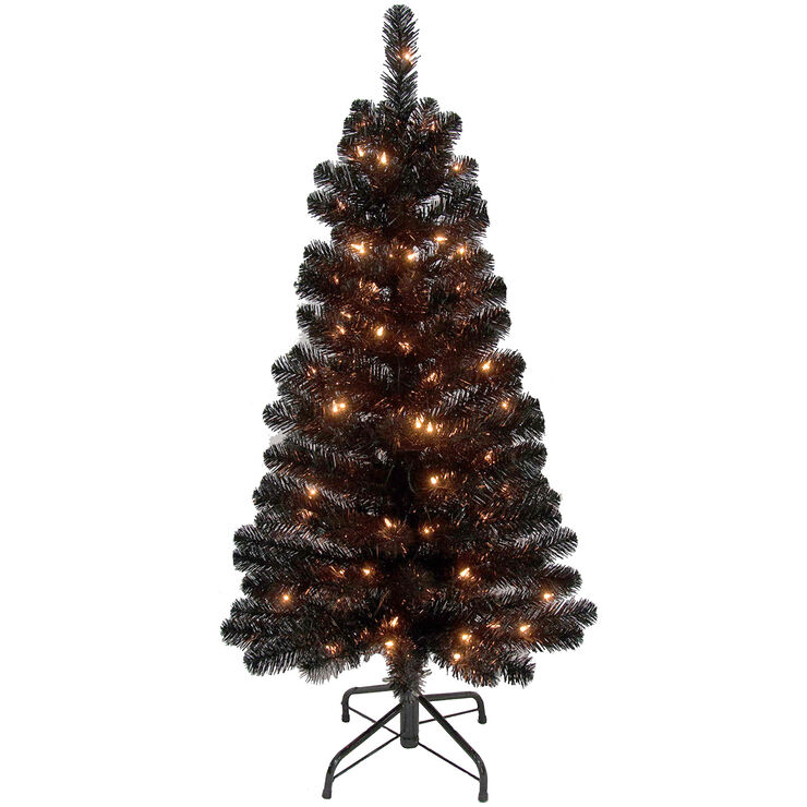 S5 4 Ft Pre Lit Black Christmas Tree With 70 Clear Lights
