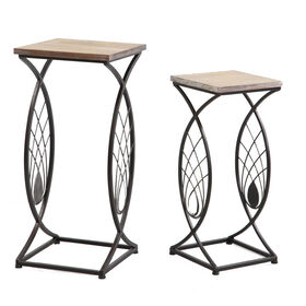Picture of Square Wood & Metal Arch Fan End Table- 23-in
