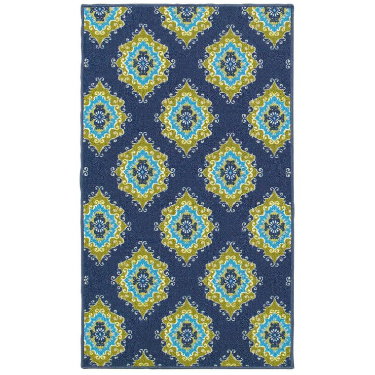 E111 Blue and Green Tile Rug- 3x5 ft