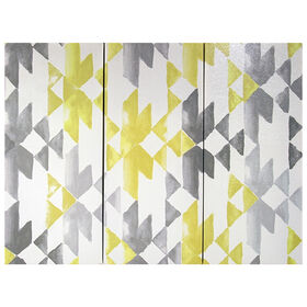 Picture of Yellow and Grey Geometric 3-Piece Canvas Art- 45x35 in.