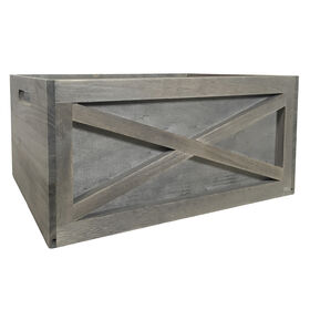 Picture of Wood Crate with Criss Cross Grey