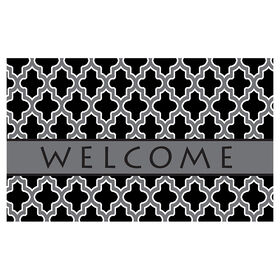 Picture of Black and Gray Quatrefoil Welcome Doormat 18 X 30-in