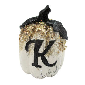 Picture of White/Glitter Monogram Pumpkin- K