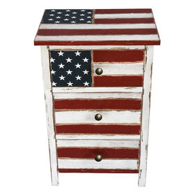 Picture of 3-Drawer Wooden Cabinet USA Flag