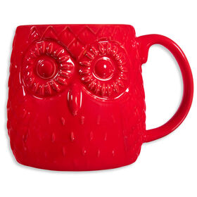 Picture of Red Embossed Owl Mug- 20oz