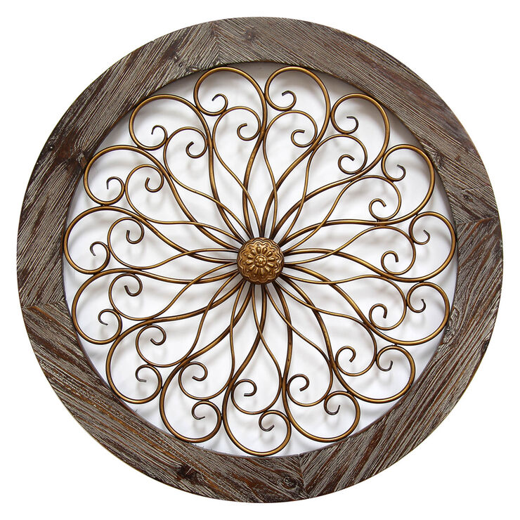 Wood Circle Wall Decor : Round wood and copper metal wall decor in at home