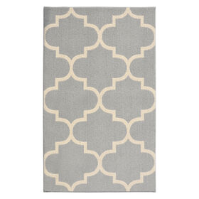 Picture of D181 Silver and Ivory Quatrefoil Moroccan Rug