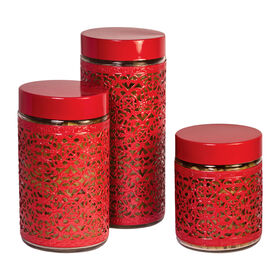Picture of 3 Pack Encased Glass Canisters