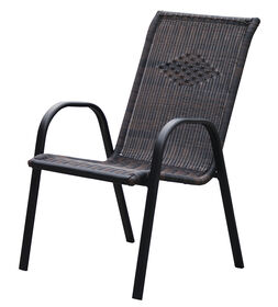 Picture of Dark Brown Wicker High Back Outdoor Patio Chair
