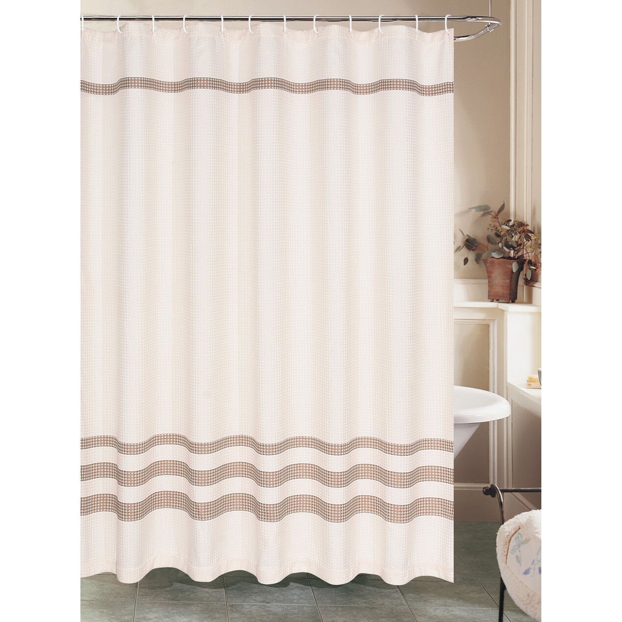Cream Waffle Shower Curtain with Brown Stripe - At Home