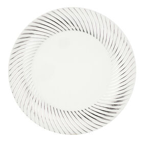 Picture of White & Silver Swirl 7-in Plates- Set of 10