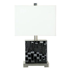 Picture of Black Faux Leather Accent Lamp 12-in