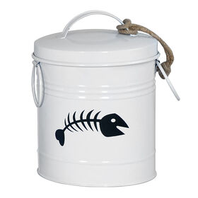 Picture of Small White Fish Bones Treat Tin Can- 6 x 8.5-in