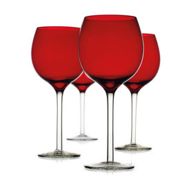 Picture of Red Goblets with Clear Stems, Set of 4