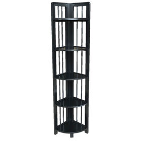 Picture of Foldable Black Wooden Bookshelf 59H