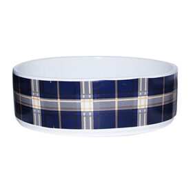 Picture of Navy and Brown Plaid Ceramic Bowl - 6 in.
