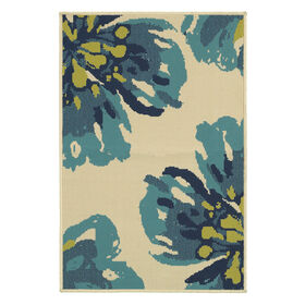 Picture of Blue & Tan Flowers Utility Rug 29 X 45-in