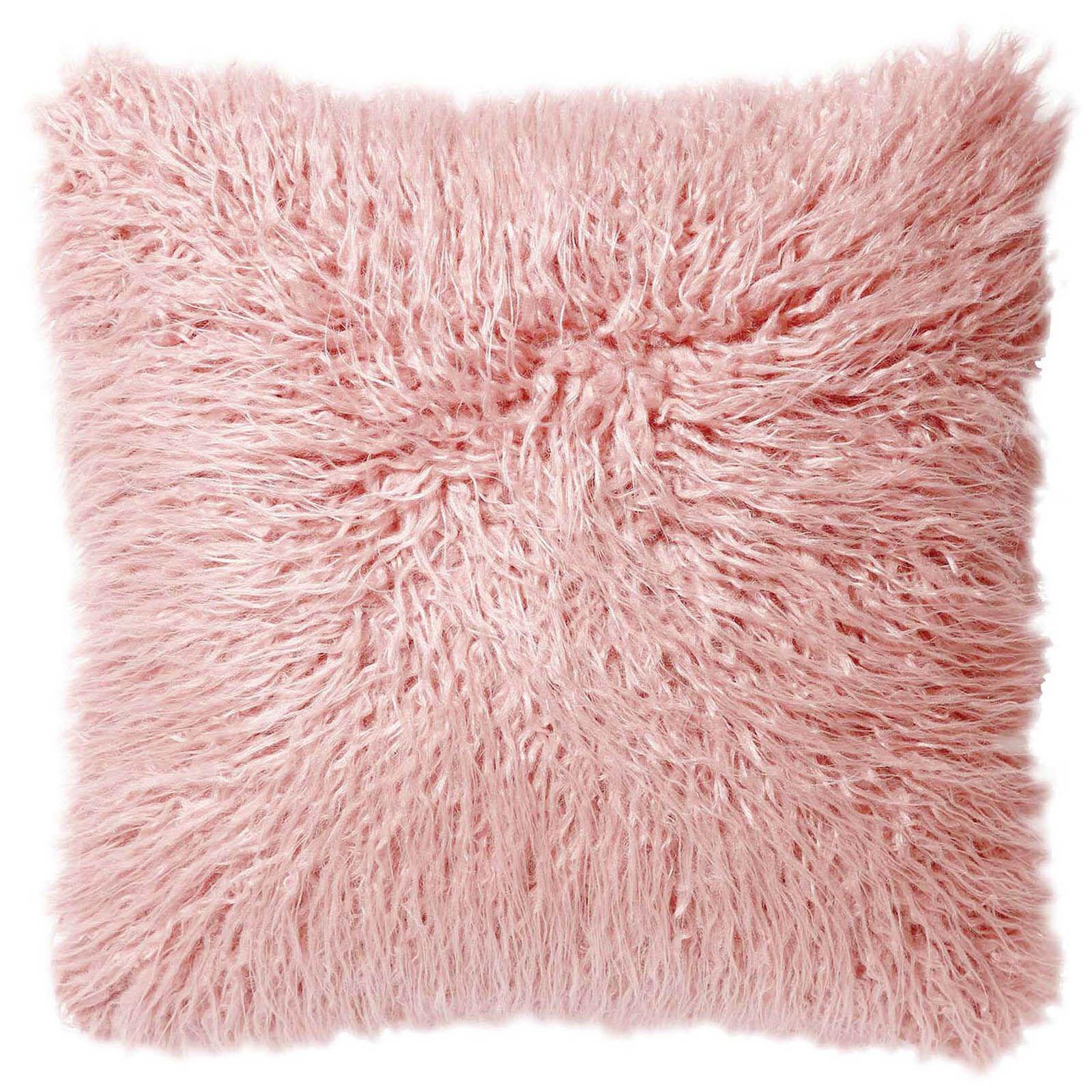 blush pink mongolian faux fur pillow 18in