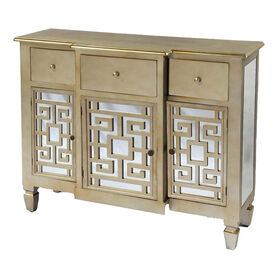 Picture of 3-Door, 3-Drawer Gold Mirror Key Cabinet