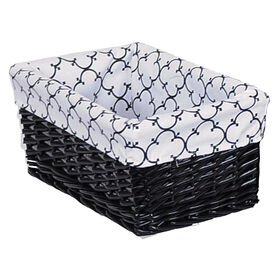 Picture of Large Rectangular Black Willow Basket with Black and White Quatre Liner