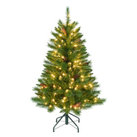 Picture of 4-ft Pre-Lit Beckham Pine Christmas Tree with 200 Clear Lights