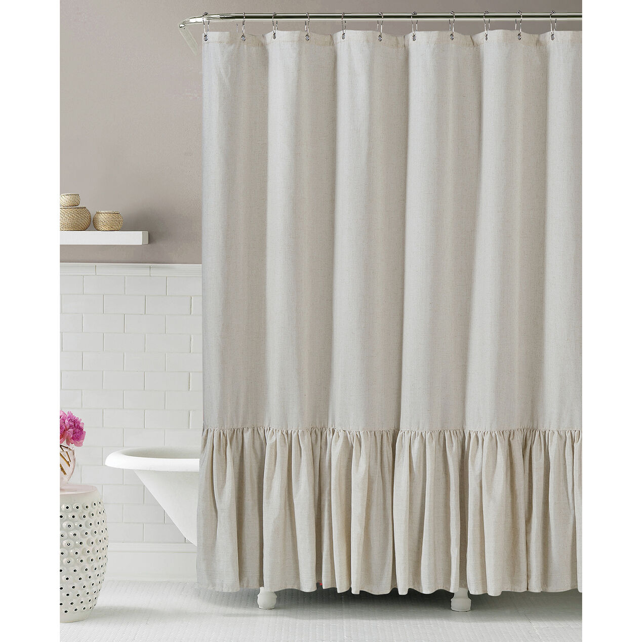 Gabriella Natural Linen Shower Curtain At Home