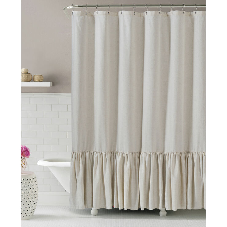 Oil Rubbed Bronze Curtain Rods Ruched Linen Shower Curtain
