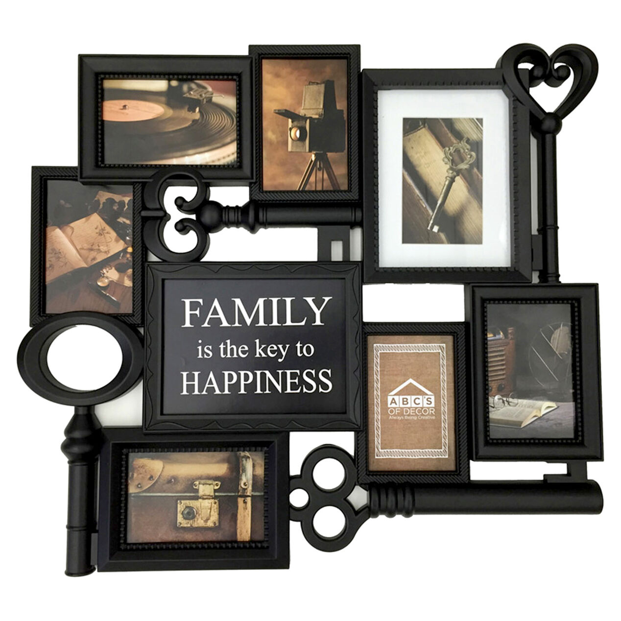 24 x 22 in family is key black collage frame