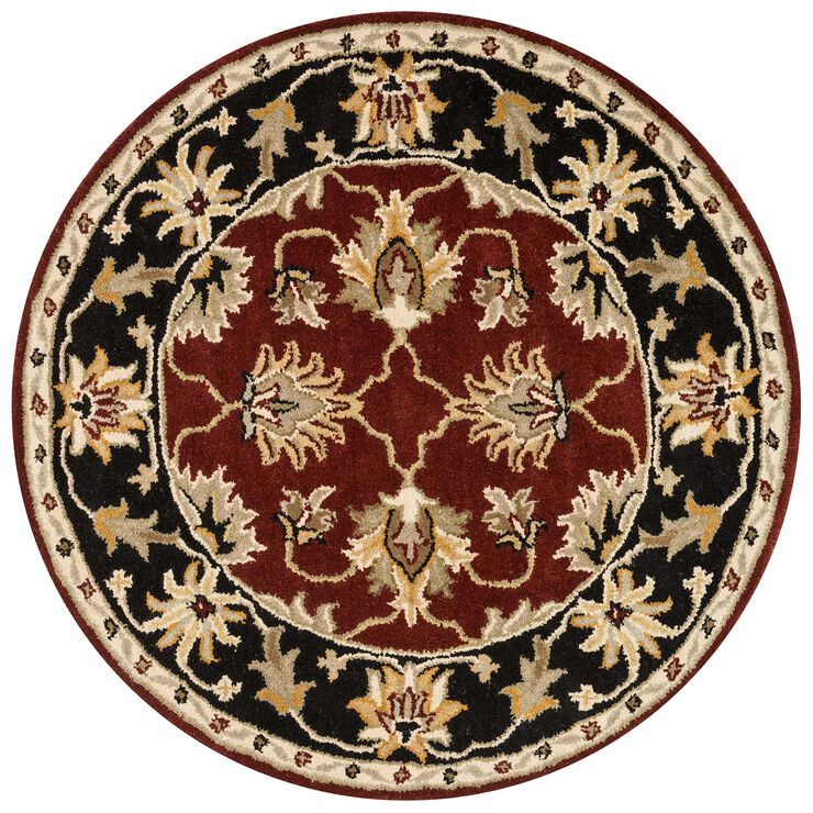 A214 Red and Black Persian Round Rug- 4 ft