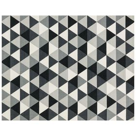 Picture of B377 Black and White Printed Hook Rug