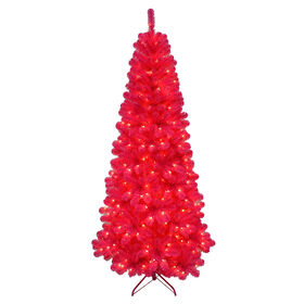 Picture of F10 7-ft Pre-Lit Pink Christmas Tree with 350 Clear Lights