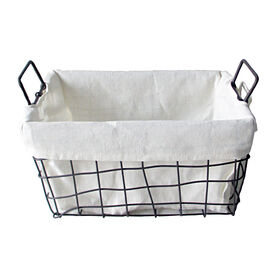 Picture of Rectangular Woven Metal Wire Basket with Handles - Large