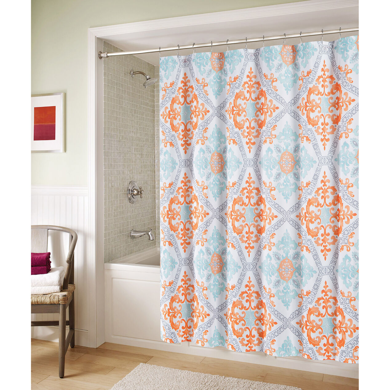 Blue bathroom curtains - Blue And Orange Marcone Shower Curtain
