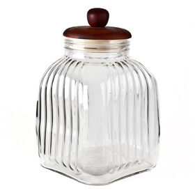Picture of 118 Ounce Glass Ribbed Jar with Wood Lid