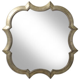 Picture of 14 X 14-in Champagne Quatrefoil Mirror