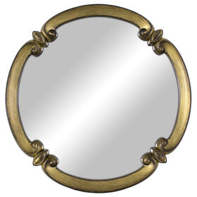 Picture of Antique Gold Ornate Scallop Mirror - 11 x 11-in