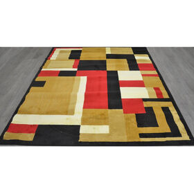 Picture of Black Red and Tan Blocks Rug 8 X 10 ft