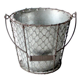 Picture of Flat Chicken Wire Round Basket with Handles