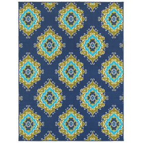 Picture of E111 Blue and Green Tile Rug