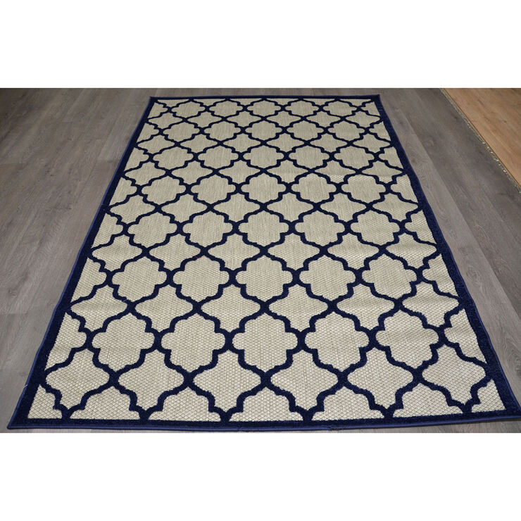 E125 Navy Trellis Cancun Rug- 3x5 ft