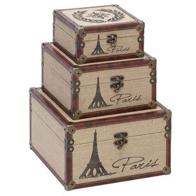 Picture of 12 NST WD BURLAP PARIS TRUNK L