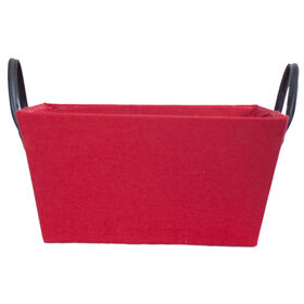 Picture of Red Rectangle Fabric Basket with Leather Handles