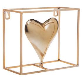 Gold Metal Open Cube Heart- 7 in.