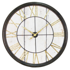Picture of 40-in Metal Roman Numeral Clock with Wood Face