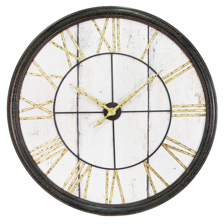 40-in Metal Roman Numeral Clock with Wood Face
