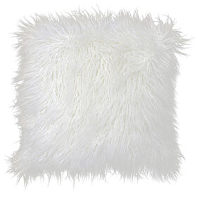 White Mongolian Fur Pillow 18-in